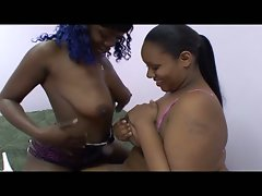 Ebony lesbian babe wants to fuck cock action