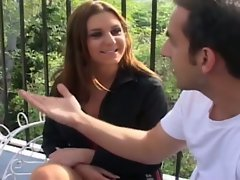 Hot brunette babe gets pounded by four eager dicks