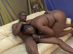 Ebony big big size babe rammed by another big hard black dick