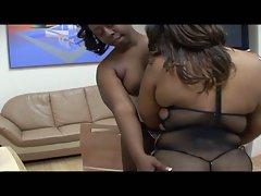 Big tits fat ebony sluts in hot cumswapping session