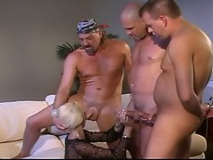 Extreme hardcore sex-with double penetration and with 3 vs one slut.