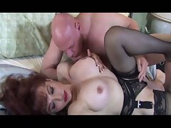 Horny busty brunette letting this guy suck his toes and fuck her pussy