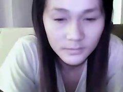 Shy & horny Thai girl fingering on webcam