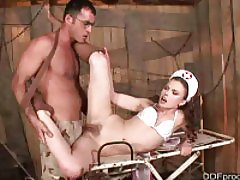Naughty nurse gives footjob and gets fucked
