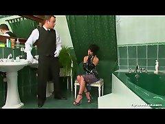 Hot girl making her man clean the bathroom