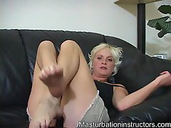 Lusty blonde showing off her dirty feet and talking