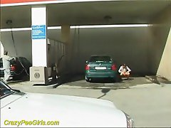 Pissing at a public car wash