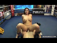 Busty milf riding cock in boxing ring