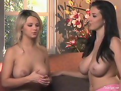 Two topless chicks chatting it up for fun