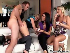 Gal in satin fucked while her friends watch