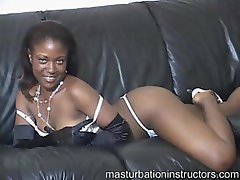 Sexy black chick tells you how to masturbate