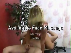 Hot chick gives him a handy while sitting on his face