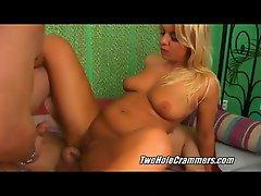 Two dicks in chubby blondie