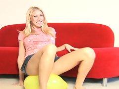Sweetie in skirt pops a balloon