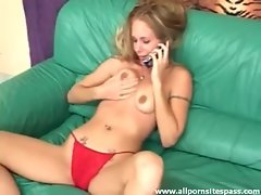She talks dirty on phone and strips naked