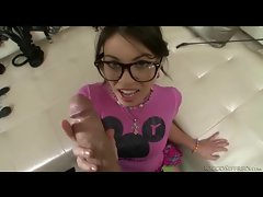 Cocksucking nerd girl fucked in the butt POV