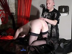 french libertine submissive in caning session bdsm