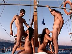 Group sex on boat with Euro babes