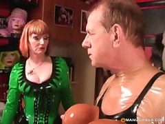 Saucy redhead cougar humiliating her husband with cross dressing