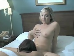 Lesbians in sexy white lingerie licking pierced pussies