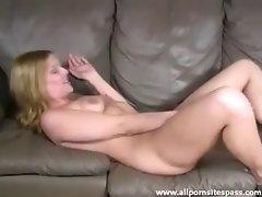 Chubby blonde minx enjoying her naughty toys