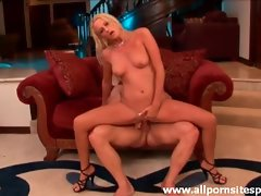Leggy blonde seductress bounces on thick shaft