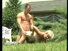 Old lady fucked hardcore outdoors