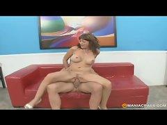 Busty redhead wife enjoys banging a pornstar