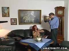 Redhead amateur Milf sucks cock with cum on tits