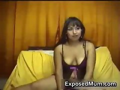 MILF in sexy underwear shows boobs