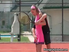 Horny tennis instructor seducing