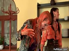 Three hot Euro babes covered in sticky