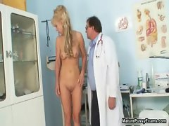 Horny doctor fucked a mature blonde mom