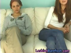 Lesbian Cuties Casting on the Couch