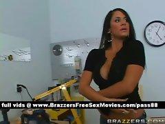 Horny brunette slut in the carpentry class