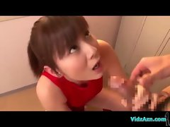 Asian Girl In Training Dress Giving Blowjob While Sitting On The Ball Cum To Mouth In The Locker Roo