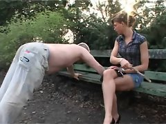 German mistress pees in her slave outside