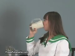 Teen schoolgirl loves drinking cum from