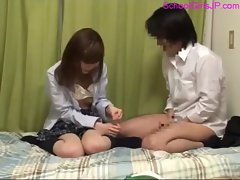 Schoolgirl Fucked By Schoolguy Cum To Condom On The Bed In The Room