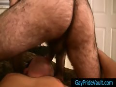 Super hairy bear getting his cock sucked gay video