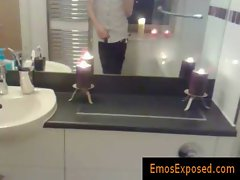 Emo redhead jerking his penis in the mirror gays