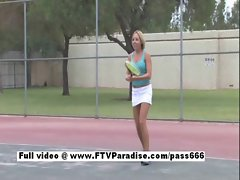Pleasant Naked blonde playing tennis