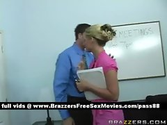Sweet blonde slut at school on the desk gets her wet pussy fucked