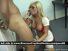 Horny blonde nurse gets a blowjob
