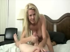Her big tits and jerking makes him want to cum over her