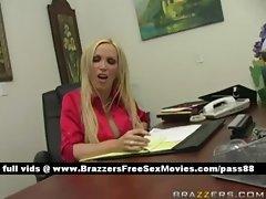 Horny blonde slut at the office