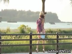 Akina Lovely real asian doll enjoys public place