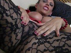 Black lace pantyhose