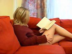 Tempting blonde young woman masturbation.