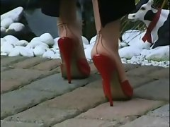 Filthy NYLONS IN RED MULES WALKING (ORIGINAL SOUND)